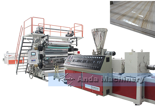 PVC marble sheet production line running at HCM city, Vietnam