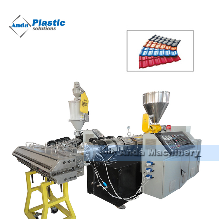 PVC ASA co-extruded plastic roof tile machine