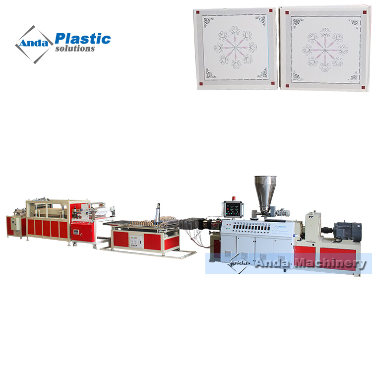 600 by 600 PVC ceiling tile production line with online hot stamping machine exported to bangladesh